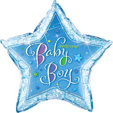Welcome Baby Boy Stars Holographic Foil Star 36in/90cm