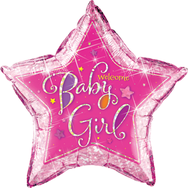 Welcome Baby Girl Stars Holographic Foil Star 36in/90cm