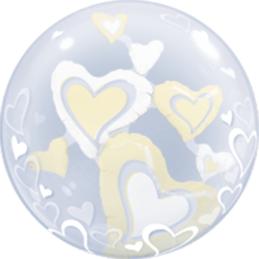 White and Ivory Floating Hearts Double Bubble 24in/60cm