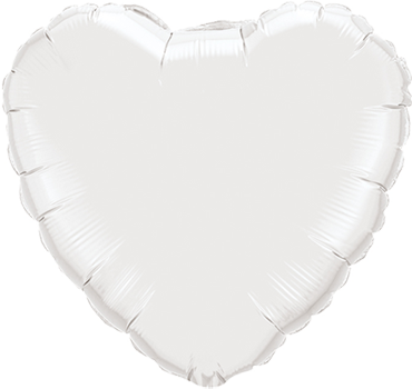 White Foil Heart 4in/10cm