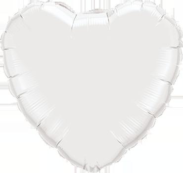 White Foil Heart 9in/22.5cm