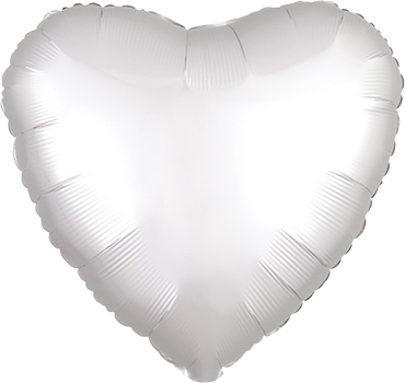 White Satin Luxe Foil Heart 17in/43cm