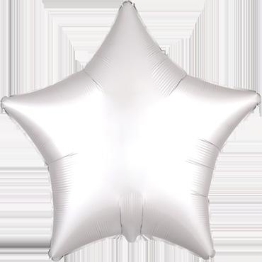 White Satin Luxe Foil Star 17in/43cm
