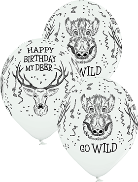 Wild Birthday Pastel White Latex Round 12in/30cm