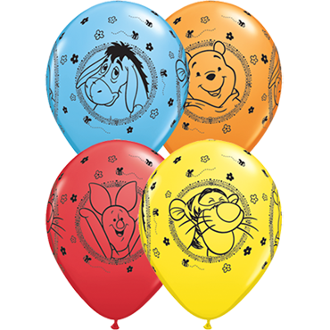 Winnie The Pooh Characters Standard Yellow, Standard Red, Standard Orange and Standard Pale Blue Assortment Latex Round 11in/27.5cm