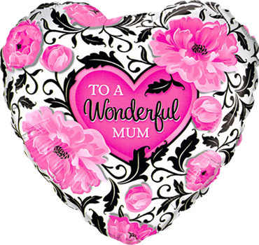 Wonderful Mum Floral Damask Foil Heart 18in/45cm