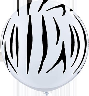 Zebra Print Standard White Latex Round 36in/90cm