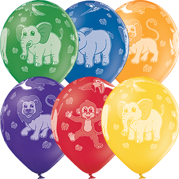 Zoo Animals Pastel Leaf Green, Pastel Bright Yellow, Pastel Orange, Pastel Red, Pastel Royal Lilac and Pastel Royal Blue Assortment Latex Round 12in/30cm