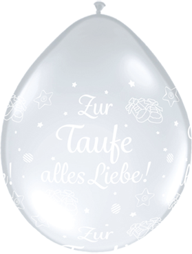 Zur Taufe alles Liebe! Crystal Diamond Clear (Transparent) Neck Up Latex Round 5in/12.5cm