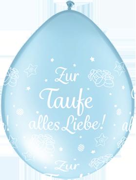 Zur Taufe alles Liebe! Pearl Light Blue Neck Up Latex Round 5in/12.5cm