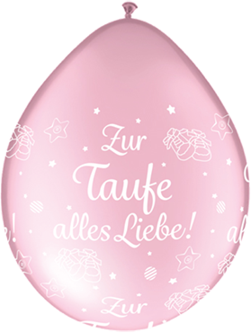 Zur Taufe alles Liebe! Pearl Pink Neck Up Latex Round 5in/12.5cm