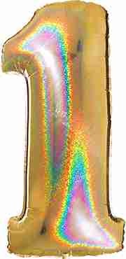 1 Megaloon Gold Glitter Holographic Foil Number 40in/100cm