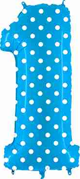 1 Pois Turquoise Foil Number 40in/100cm
