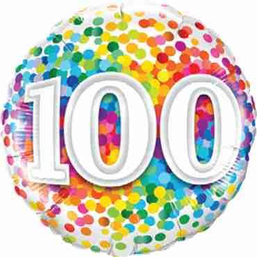 100 Rainbow Confetti Foil Round 18in/45cm