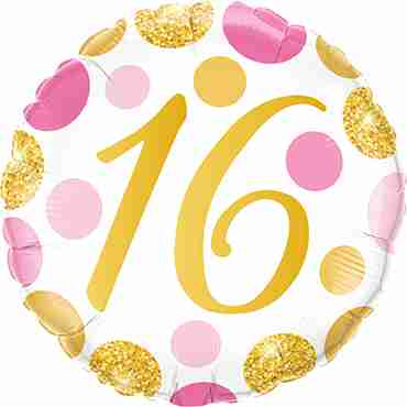 16 Pink and Gold Dots Foil Round 18in/45cm