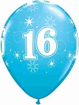 16 Sparkle Fashion Robins Egg Blue Latex Round 11in/27.5cm