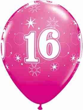 16 Sparkle Fashion Wild Berry Latex Round 11in/27.5cm