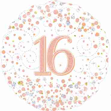 16th Sparkling Fizz Birthday White and Rose Gold Holographic Foil Round 18in/45cm