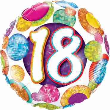 18 Birthday Big Dots and Glitz Holographic Foil Round 18in/45cm