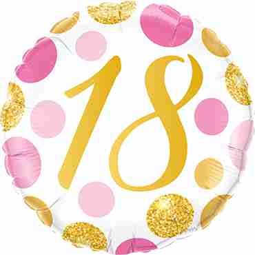 18 Pink and Gold Dots Foil Round 18in/45cm