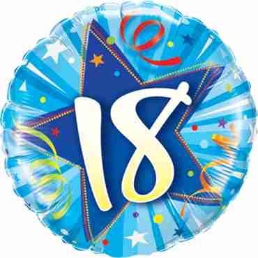 18 Shining Star Bright Blue Foil Round 18in/45cm