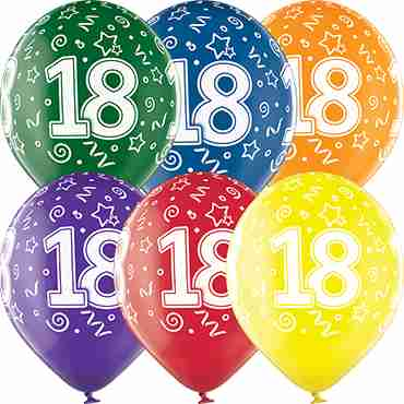 18th Birthday Crystal Green, Crystal Yellow, Crystal Orange, Crystal Royal Red, Crystal Quartz Purple and Crystal Blue Assortment (Transparent) Latex Round 12in/30cm