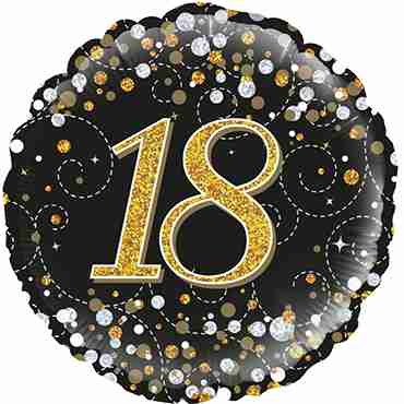 18th Sparkling Fizz Birthday Black and Gold Holographic Foil Round 18in/45cm