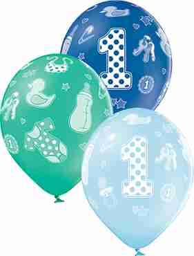 1st Birthday Boy Pastel Sky Blue, Pastel Forest Green and Royal Blue Assortment Latex Round 12in/30cm