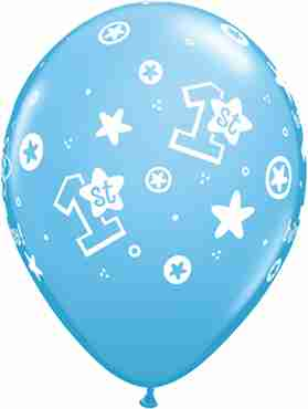 1st Birthday Circle Hearts - Boy Standard Pale Blue Latex Round 11in/27.5cm