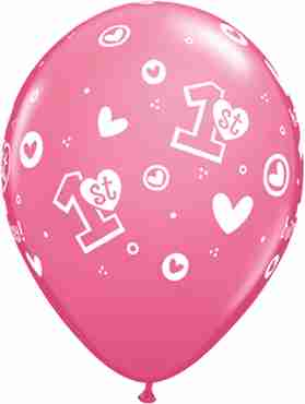 1st Birthday Circle Hearts - Girl Fashion Rose Latex Round 11in/27.5cm