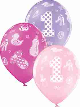 1st Birthday Girl Pastel Pink, Pastel Lavender and Pastel Rose Assortment Latex Round 12in/30cm