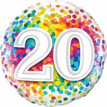 20 Rainbow Confetti Foil Round 18in/45cm