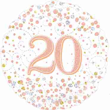 20th Sparkling Fizz Birthday White and Rose Gold Holographic Foil Round 18in/45cm