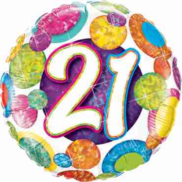 21 Birthday Big Dots and Glitz Holographic Foil Round 18in/45cm