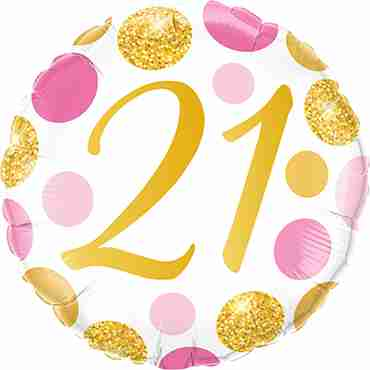 21 Pink and Gold Dots Foil Round 18in/45cm