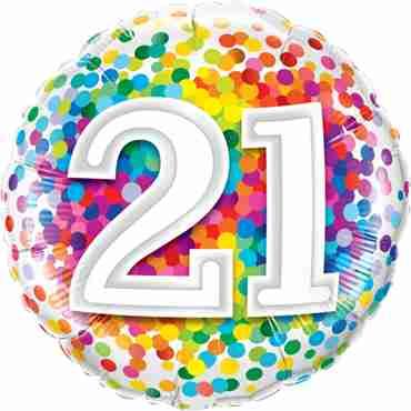 21 Rainbow Confetti Foil Round 18in/45cm