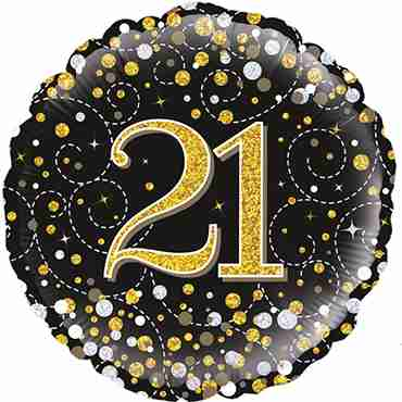 21st Sparkling Fizz Birthday Black and Gold Holographic Foil Round 18in/45cm