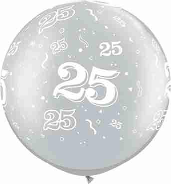 25 Metallic Silver Latex Round 30in/75cm