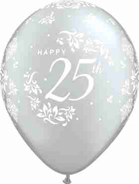 25th Anniversary Damask Metallic Silver Latex Round 11in/27.5cm