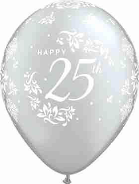 25th Anniversary Damask Metallic Silver Latex Round 11in/27.5cm