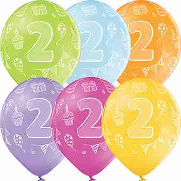 2nd Birthday Pastel Apple Green, Pastel Bright Yellow, Pastel Orange, Pastel Rose, Pastel Lavender and Pastel Sky Blue Assortment Latex Round 12in/30cm