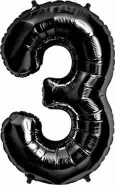 3 Black Foil Number 34in/86cm