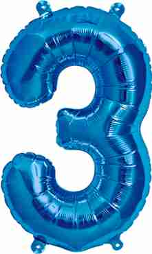 3 blue foil number 16in/40cm