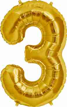 3 Gold Foil Number 7in/18cm