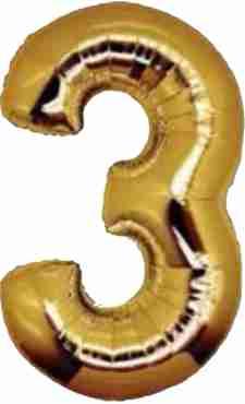 3 Gold Foil Number 8in/20cm