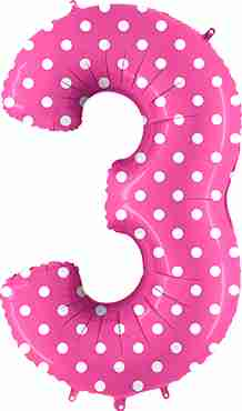 3 Pois Fuchsia Foil Number 40in/100cm
