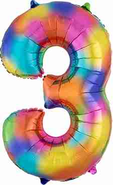 3 Rainbow Splash Foil Number 35in/88cm