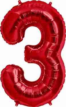 3 Red Foil Number 34in/86cm