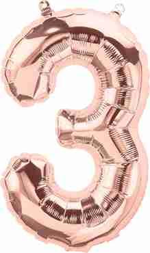 3 Rose Gold Foil Number 34in/86cm