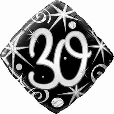 30 Elegant Sparkles and Swirls Foil Diamond 18in/45cm